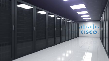 CISCO logo in the server room, editorial 3D rendering