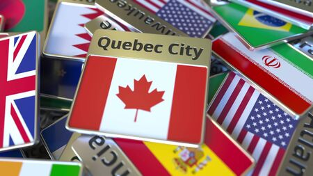 Souvenir magnet or badge with Quebec City text and national flag among different ones. Traveling to Canada conceptual 3D rendering