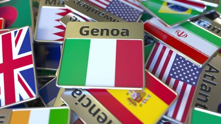 Souvenir magnet or badge with Genoa text and national flag among different ones. Traveling to Italy conceptual 3D rendering