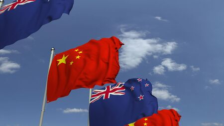Many flags of New Zealand and China, 3D rendering Stockfoto