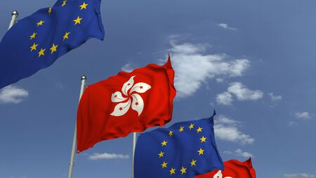 Row of waving flags of Hong kong and the European Union EU, 3D rendering 免版税图像