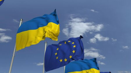 Flags of Ukraine and the European Union at international meeting, 3D rendering