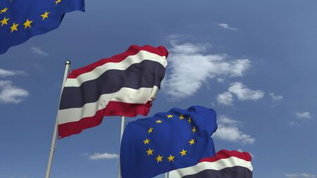 Flags of Thailand and the European Union against blue sky, 3D rendering