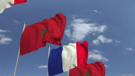 Waving flags of Morocco and France on sky background, 3D rendering