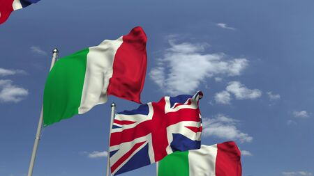 Flags of Italy and the United Kingdom at international meeting, 3D rendering