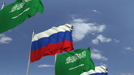 Flags of Saudi Arabia and Russia at international meeting, 3D rendering Banque d'images