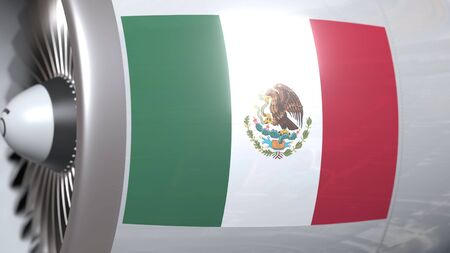 Airplane turbine with flag of Mexico. Mexican transportation conceptual 3D rendering