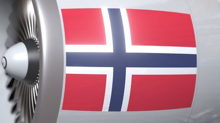 Airplane turbine with flag of Norway. Norwegian transportation conceptual 3D rendering