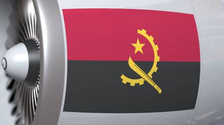 Airplane engine with flag of Angola. Angolan air transportation conceptual 3D rendering