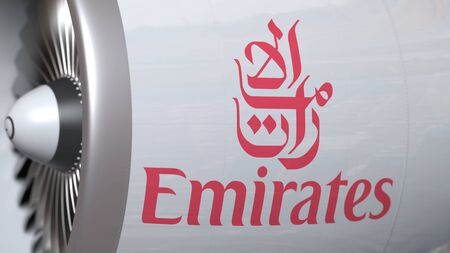 Airplane turbine with Emirates Airlines logo. Editorial conceptual 3D rendering
