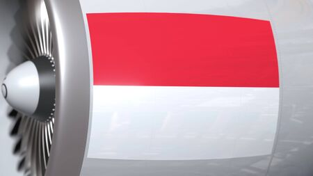 Airplane turbine with flag of Indonesia. Indonesian transportation conceptual 3D rendering 免版税图像