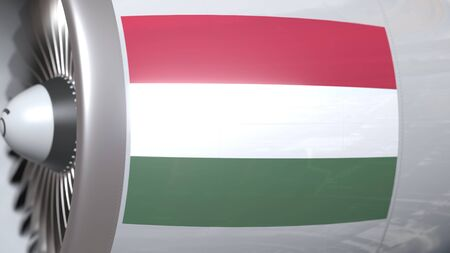 Airplane engine with flag of Hungary. Hungarian air transportation conceptual 3D rendering