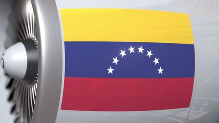 Aircraft engine with flag of Venezuela, Venezuelan air transportation related 3D rendering 免版税图像