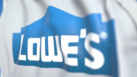 Waving flag with Lowes Companies, Inc. logo, close-up. Editorial 3D rendering