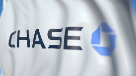 Waving flag with Chase Bank logo, close-up. Editorial 3D rendering