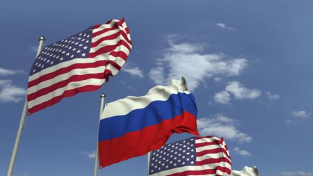 Row of waving flags of Russia and the USA, 3D rendering