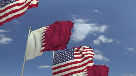 Row of waving flags of Qatar and the USA, 3D rendering