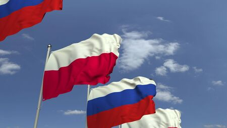 Waving flags of Poland and Russia, 3D rendering