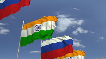 Row of waving flags of India and Russia, 3D rendering Imagens