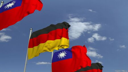 Row of waving flags of Taiwan and Germany, 3D rendering Imagens