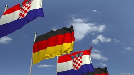 Row of waving flags of Croatia and Germany, 3D rendering