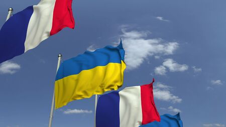 Flags of Ukraine and France at international meeting, 3D rendering