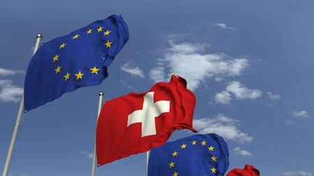 Many flags of Switzerland and the European Union EU, 3D rendering