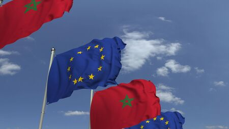 Waving flags of Morocco and the EU on sky background, 3D rendering