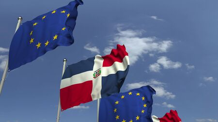 Flags of the Dominican Republic and the European Union at international meeting, 3D rendering