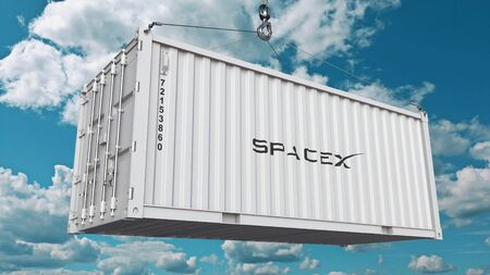 Loading container with SpaceX logo. Editorial 3D rendering 에디토리얼