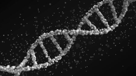 Gray DNA molecule with particles, 3D rendering 免版税图像