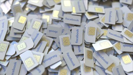 Pile of SIM cards with Facebook logo, close-up. Editorial telecommunication related 3D rendering Editorial