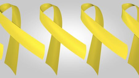 Suicide awareness yellow ribbons. 3D rendering