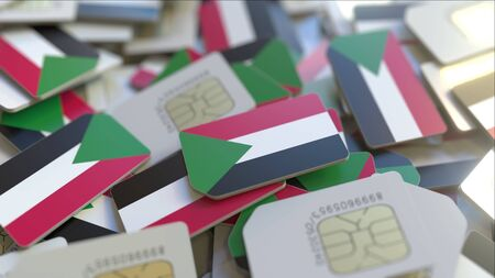 Many SIM cards with flag of Sudan, Sudanese mobile telecommunications related 3D rendering