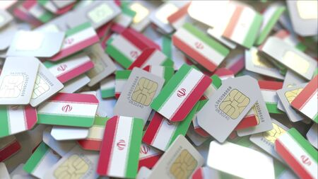 Multiple SIM cards with flag of Iran. Iranian mobile telecommunications conceptual 3D rendering