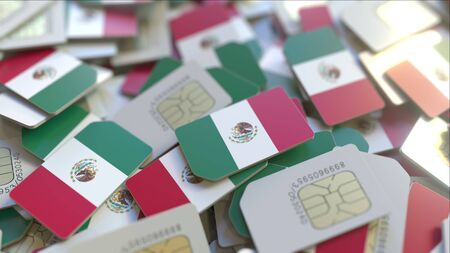 SIM cards with flag of Mexico. Mexican cellular network related conceptual 3D rendering Imagens