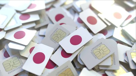 Multiple SIM cards with flag of Japan. Japanese mobile telecommunications conceptual 3D rendering
