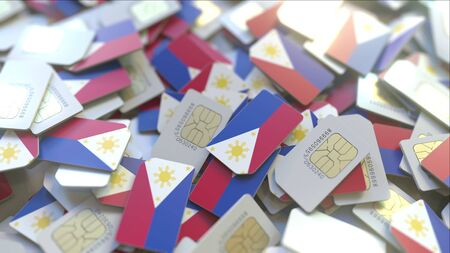 SIM cards with flag of the Philippines. Filipino cellular network related conceptual 3D rendering