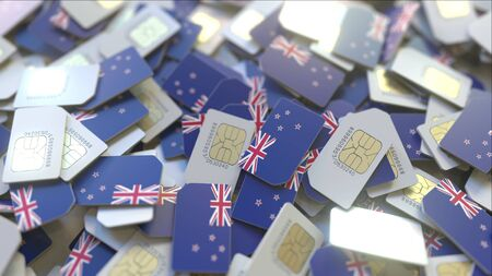 Multiple SIM cards with flag of New Zealand. Mobile telecommunications conceptual 3D rendering