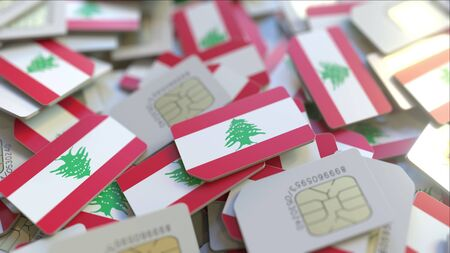 Multiple SIM cards with flag of Lebanon. Lebanese mobile telecommunications conceptual 3D rendering Imagens