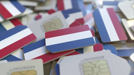 Multiple SIM cards with flag of the Netherlands. Dutch mobile telecommunications conceptual 3D rendering