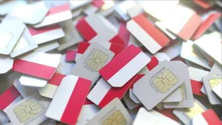 SIM cards with flag of Indonesia. Indonesian cellular network related conceptual 3D rendering