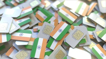 Multiple SIM cards with flag of India. Indian mobile telecommunications conceptual 3D rendering Zdjęcie Seryjne