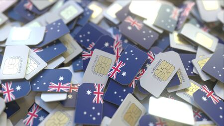 Pile of SIM cards with flag of Australia. Australian mobile telecommunications related conceptual 3D rendering Imagens