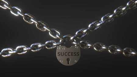 SUCCESS word on a padlock holding metal chains. Conceptual 3D rendering