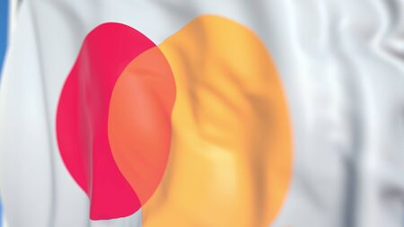 Flag with Mastercard Incorporated logo, close-up. Editorial 3D rendering
