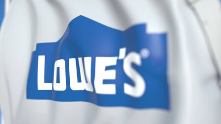 Flag with Lowes Companies, Inc. logo, close-up. Editorial 3D rendering
