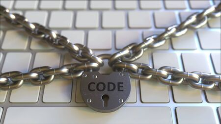 Chains and padlock with CODE text on the computer keyboard. Conceptual 3D rendering