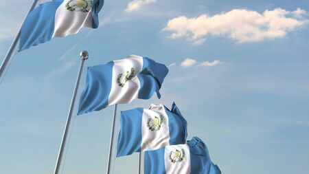 Row of waving flags of Guatemala. 3D rendering Stock Photo