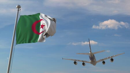 Airplane flying over flag of Algeria. Algerian air transportation related 3D rendering